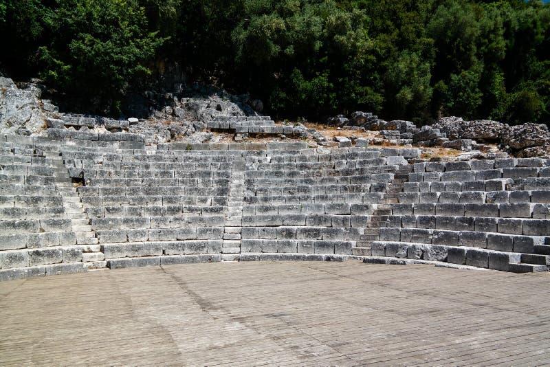 对布特林特,萨兰达,阿尔巴尼亚古镇剧院废墟的全景  免版税库存照片