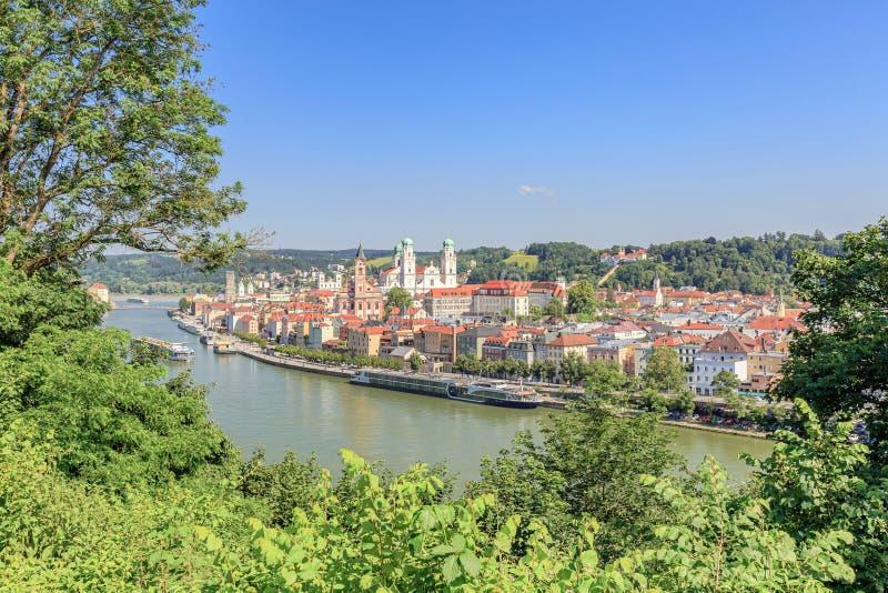 对帕绍的看法多瑙河的 库存图片