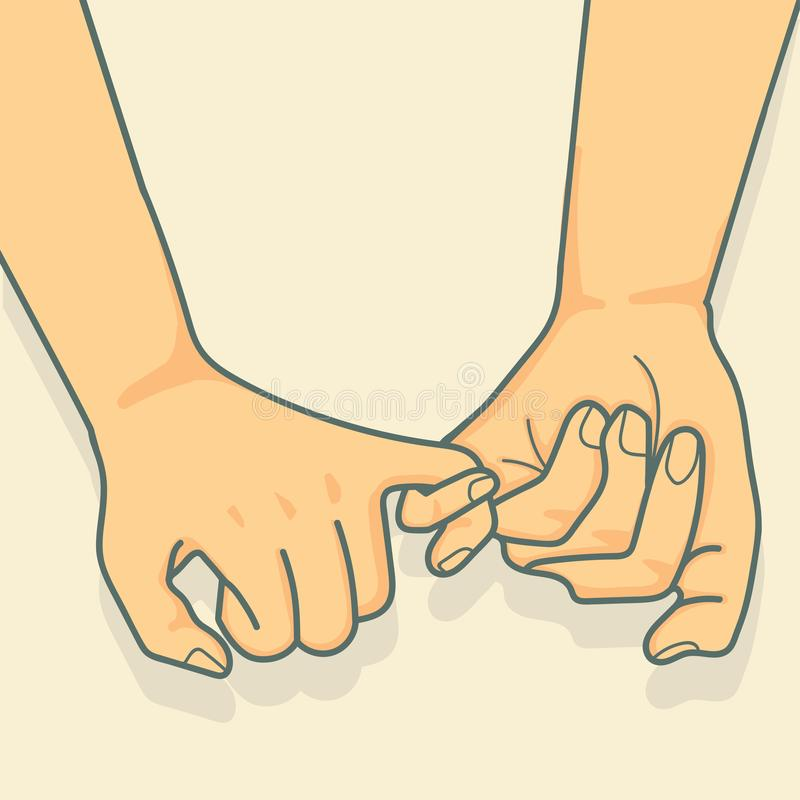 对带淡红色的诺言传染媒介的手 向量例证