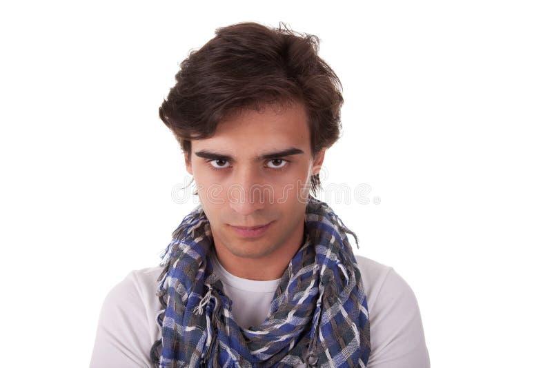 对年轻人的camer英俊的查找的人纵向 免版税库存图片