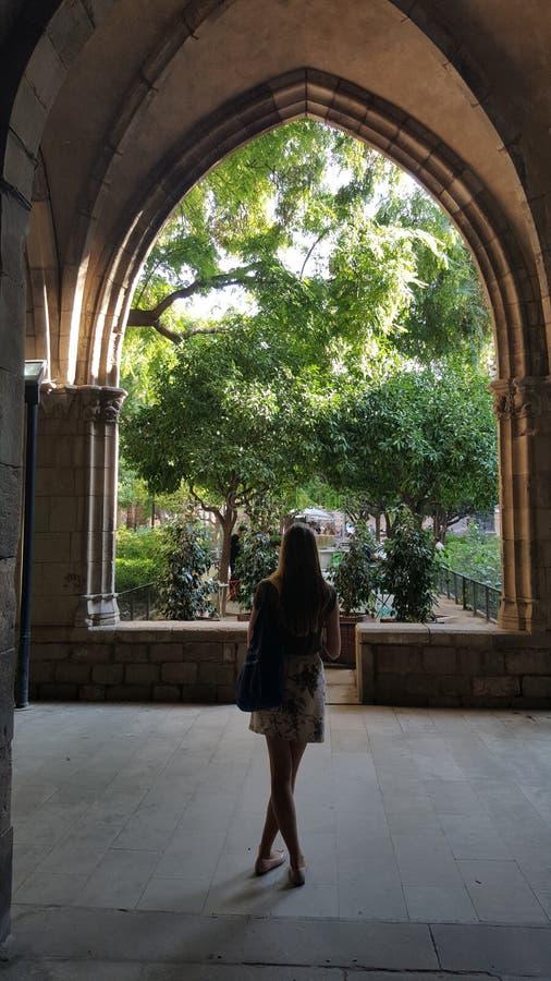 对庭院的看法在巴塞罗那 库存照片