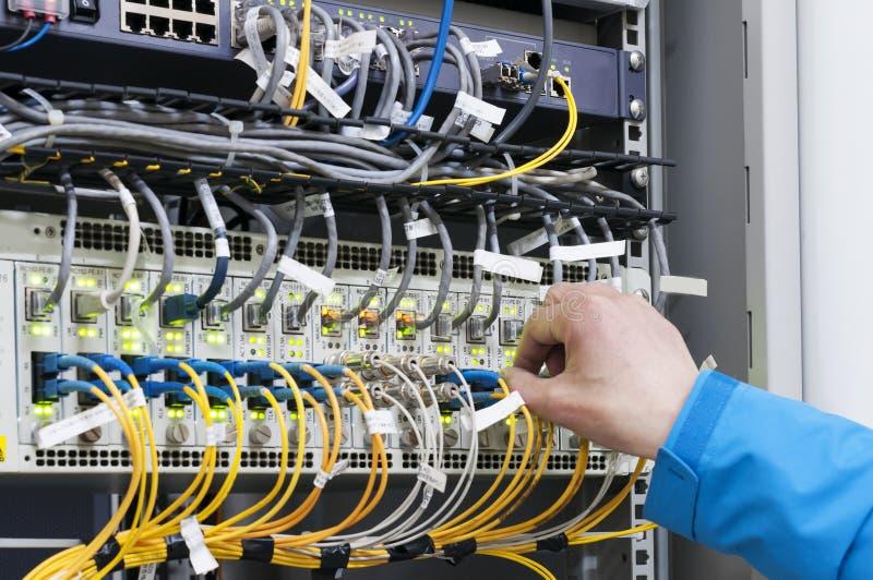 对开关的人连接的网络缆绳 免版税库存照片