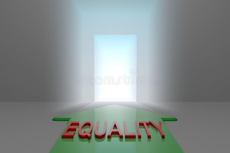 对开放门的平等 向量例证