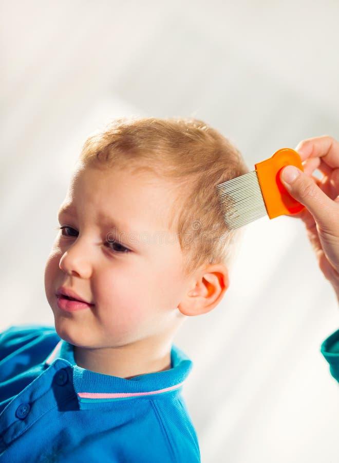 对待儿子的头发的母亲反对虱子 库存照片