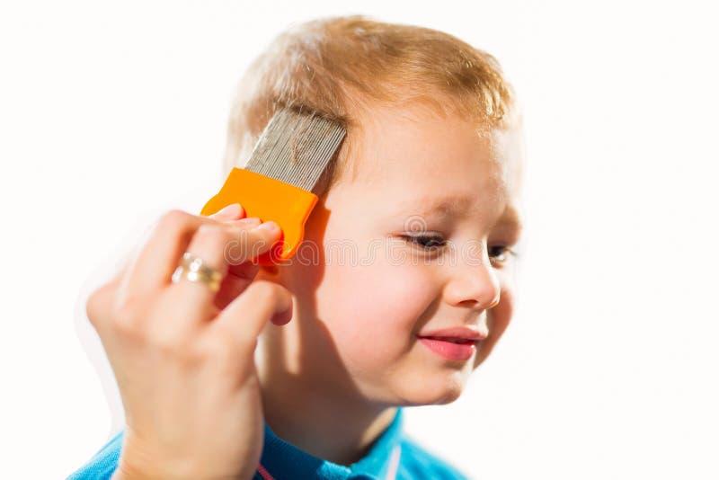 对待儿子的头发的母亲反对虱子 免版税图库摄影