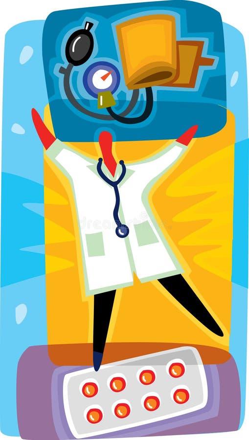 对待血压的医生和药片 皇族释放例证