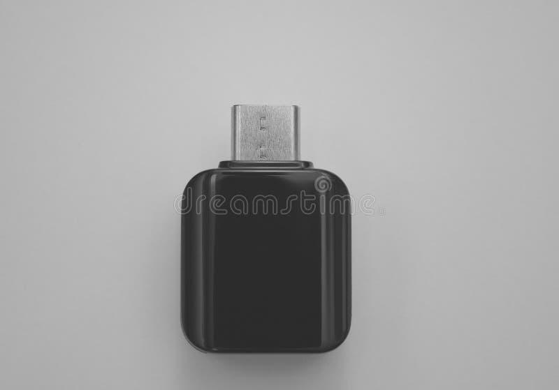 对微USB适配器的类型C巧妙的电话的 免版税库存图片