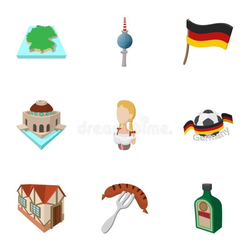 对德国象的旅行设置了,动画片样式 皇族释放例证