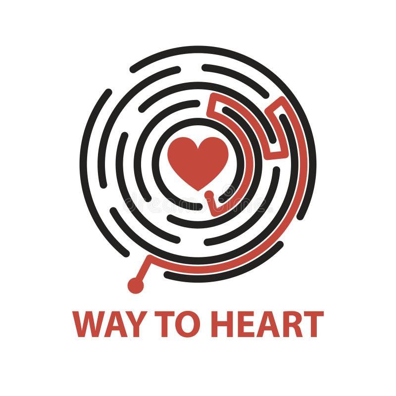 对心脏的方式在迷宫 向量例证