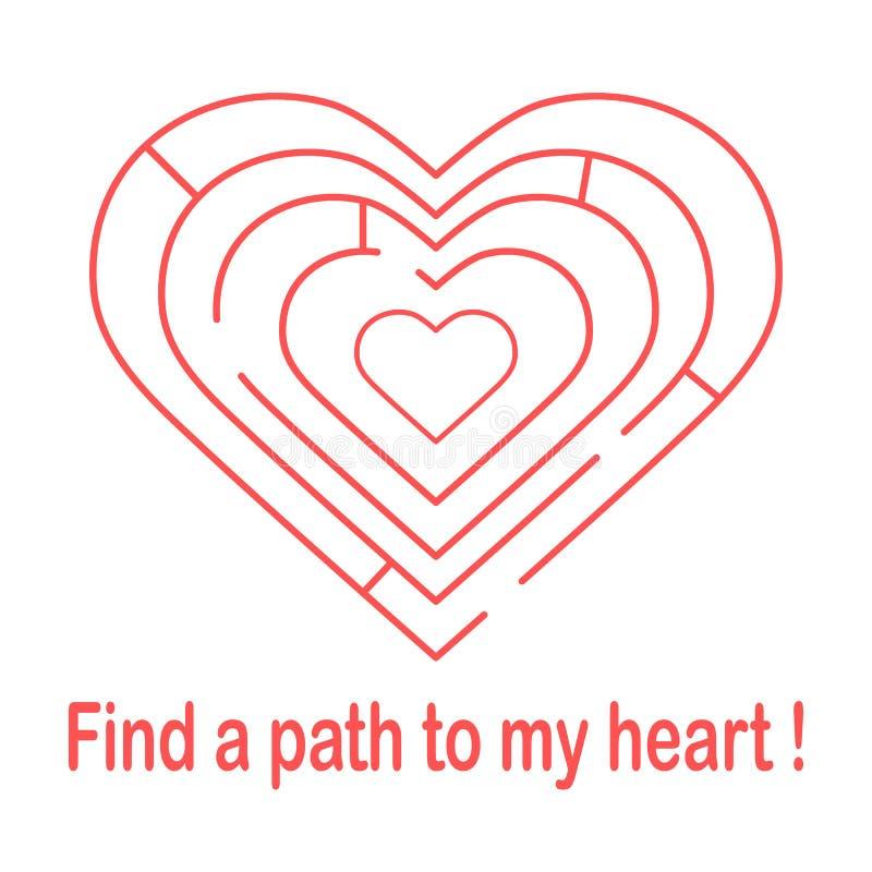 对心脏的迷宫和题字发现一条道路对我的心脏 横幅、海报或者印刷品的设计 贺卡华伦泰\ 's 皇族释放例证