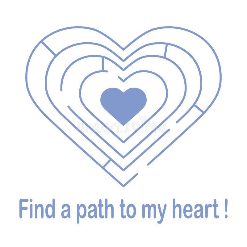 对心脏的迷宫和题字发现一条道路对我的心脏 横幅、海报或者印刷品的设计 贺卡华伦泰\ 's 向量例证
