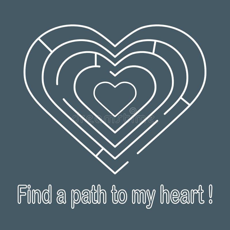 对心脏的迷宫 用蜡笔画日女性四现有量重点s华伦泰 库存例证