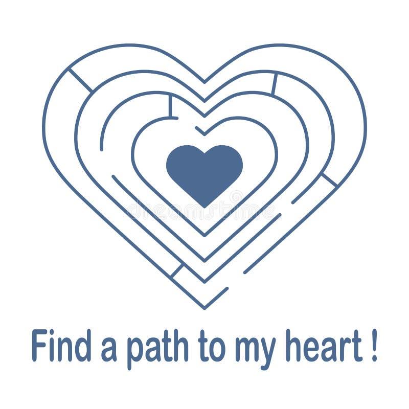 对心脏的迷宫 被限制的日重点例证s二华伦泰向量 向量例证