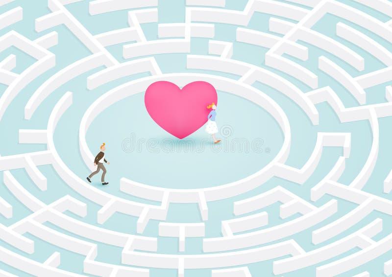 对心脏的迷宫 库存例证