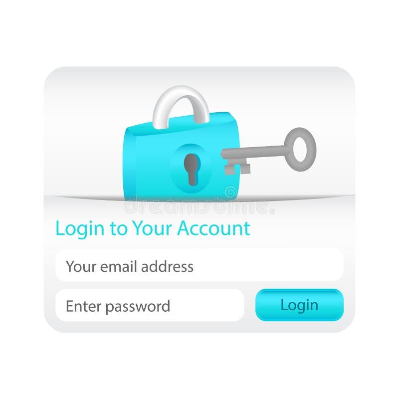 对您的帐户表单的轻的登录与锁定图标和灰色关键字 库存例证