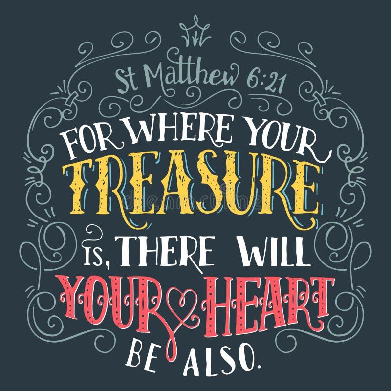 对您的珍宝是圣经行情的地方 库存例证