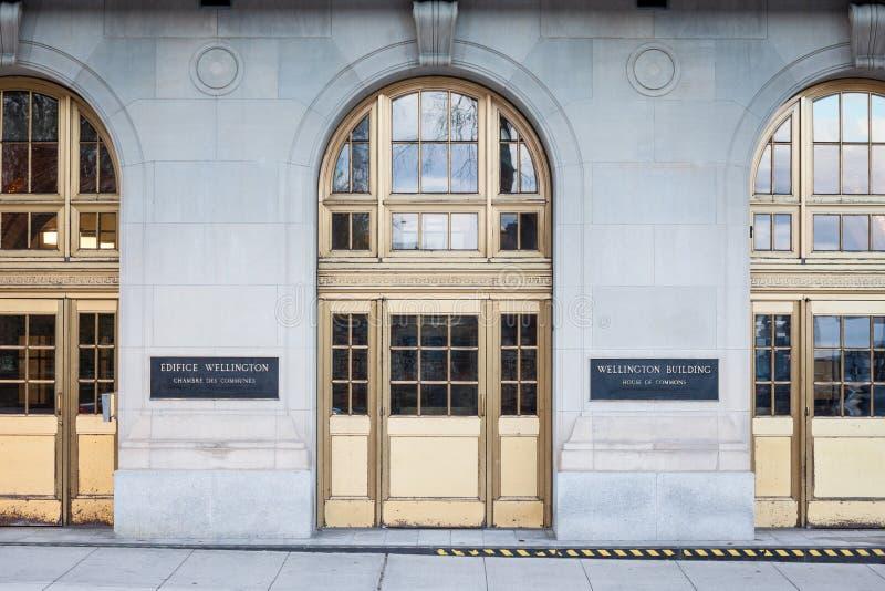 对惠灵顿大厦,下议院,加拿大议会更低的房间的行政大厦的入口  免版税库存照片