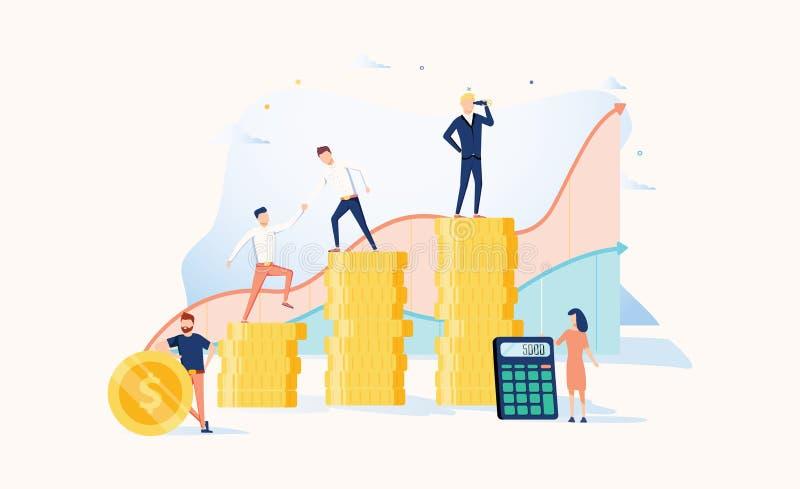 对成功的事业成长 企业例证JPG人向量 也corel凹道例证向量 成就概念 财政财富和工作促进 向量例证