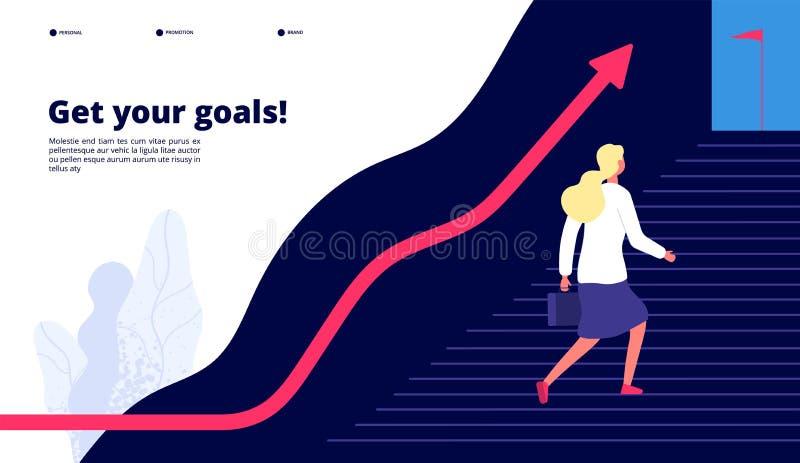 : 对成功的妇女走的步,促进您的工作瞄准 事业企业传染媒介概念 向量例证
