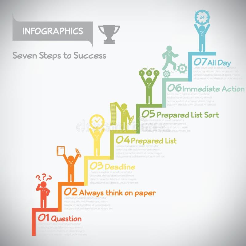 对成功infographics的步 库存例证