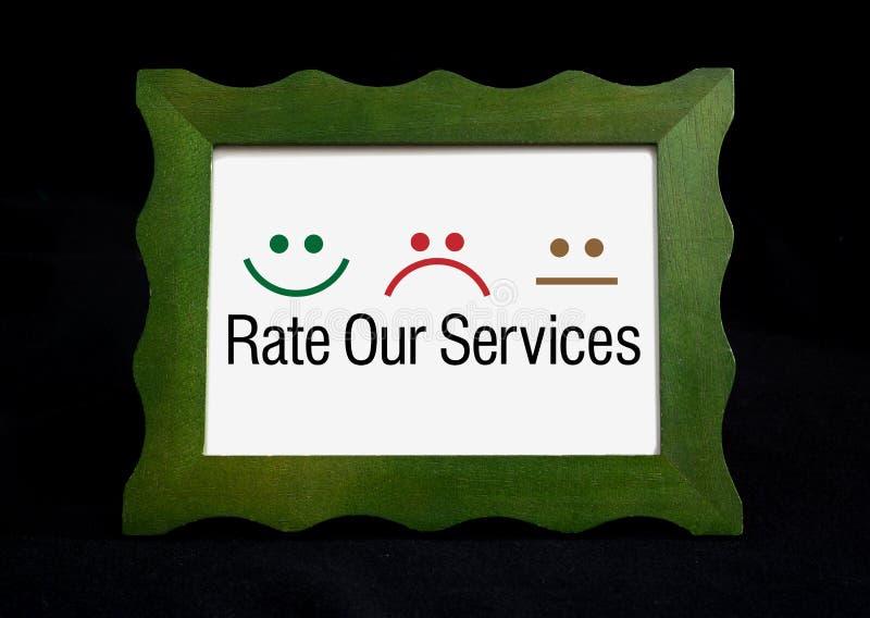 对我们的与愉快的服务估计在黑板的哀伤的象 库存照片
