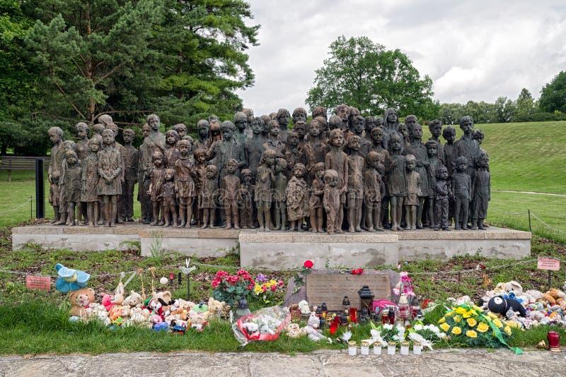 对战争的儿童受害者,利迪策-捷克repu的纪念品 库存图片