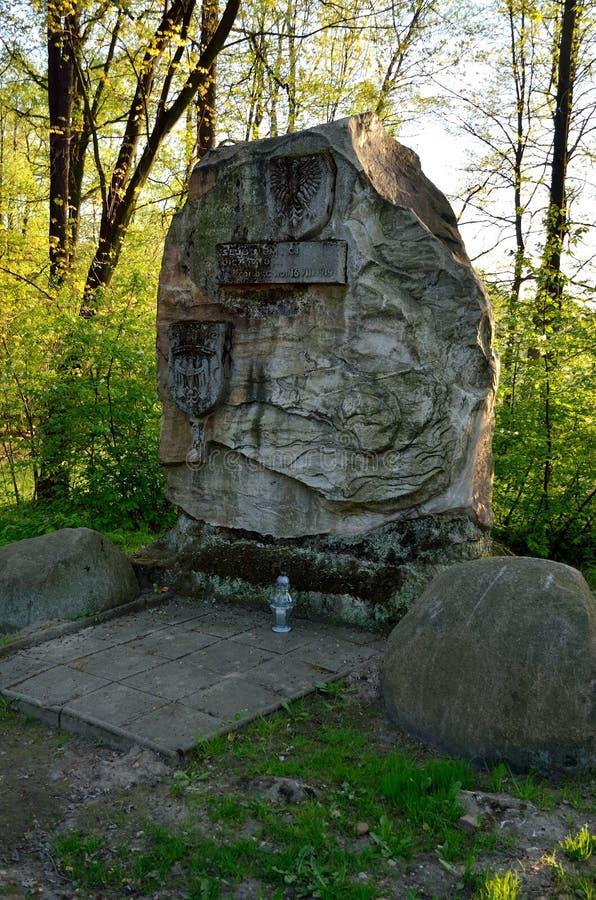 对战争的受害者的纪念碑在普什奇纳,波兰 库存照片
