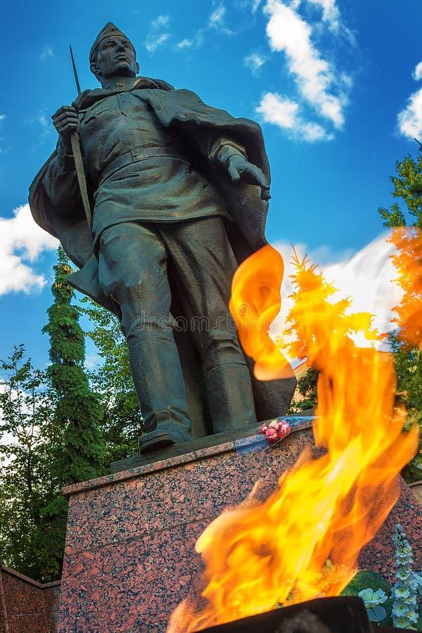 对战士坟茔的纪念品在WWII死了在Zvenigorod,俄罗斯 免版税库存照片