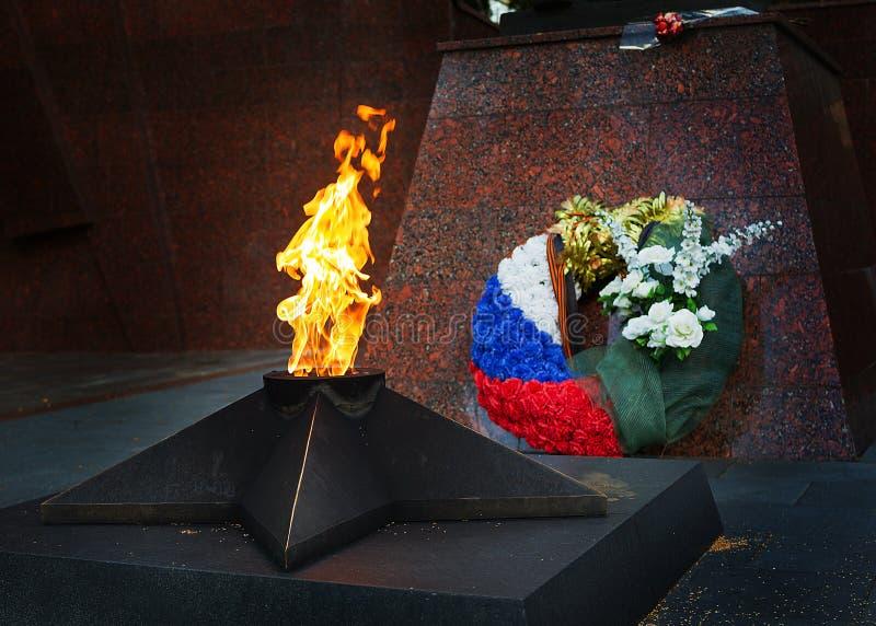 对战士坟茔的纪念品在WWII死了在Zvenigorod,俄罗斯 库存照片