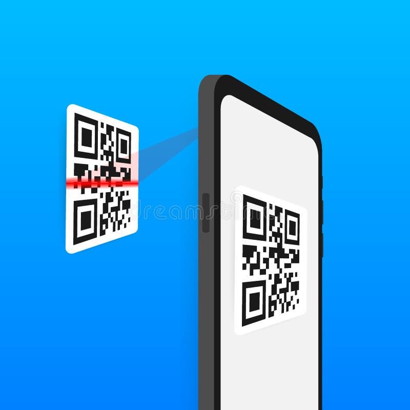 对手机的扫描QR代码 电子,数字技术,条形码 r 库存例证