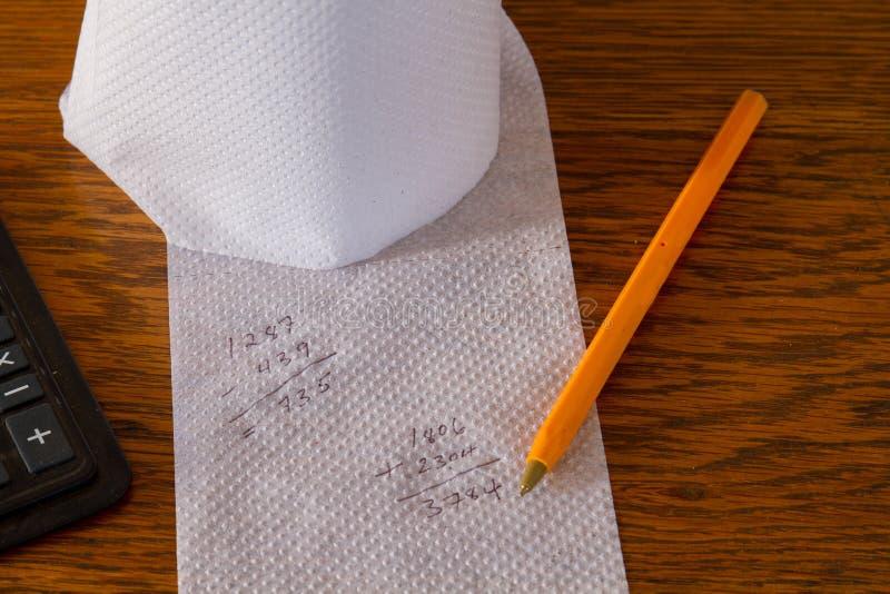 对手纸的不正确算术演算 免版税库存照片
