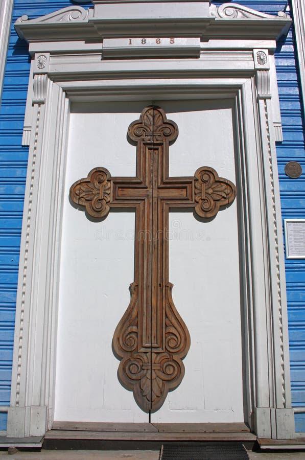 对教会的门 德鲁斯基宁凯,立陶宛 免版税图库摄影