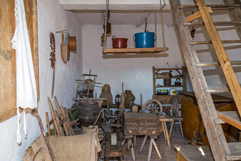 对斯洛伐克ethnics农舍的附录的内部  巴娜 库存图片