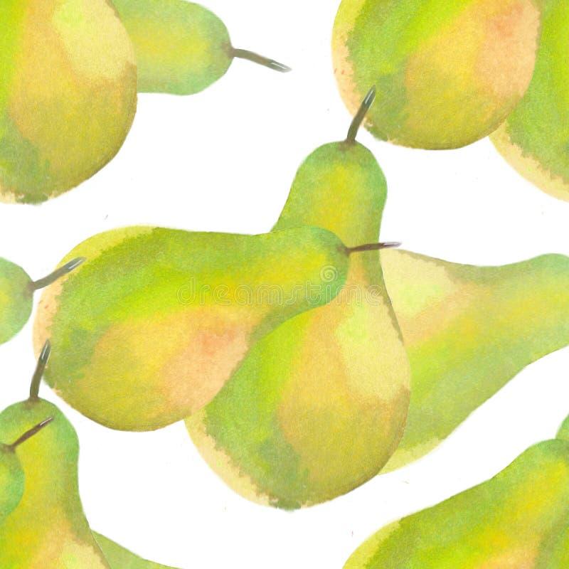 对新鲜梨的黄绿色 额嘴装饰飞行例证图象其纸部分燕子水彩 库存例证