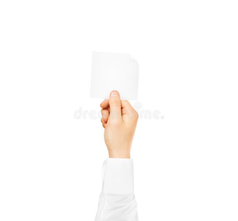 对方形的空白的白色贴纸嘲笑负的手被隔绝 Sticke 库存图片