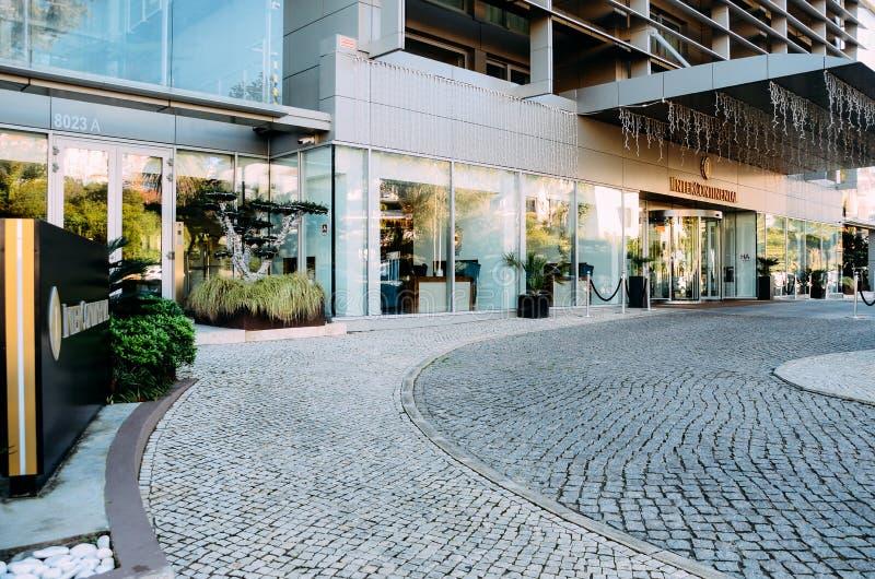 对旅馆的入口洲际在爱都酒店,葡萄牙 库存图片