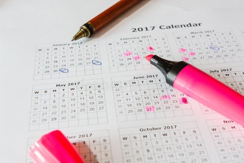 对日历的分析 免版税库存图片
