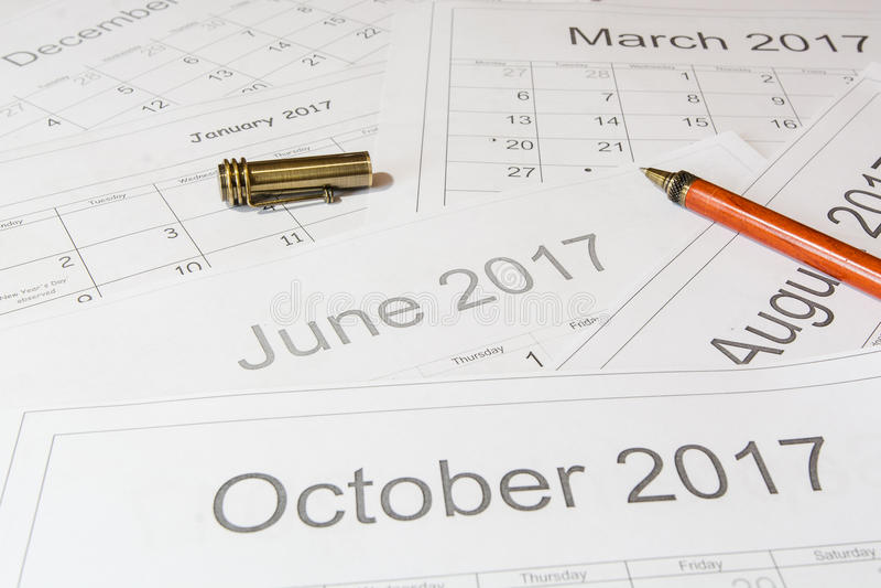 对日历的分析 库存图片