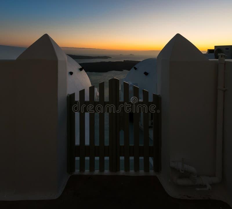 对日落的门户 希腊 希腊 库存图片