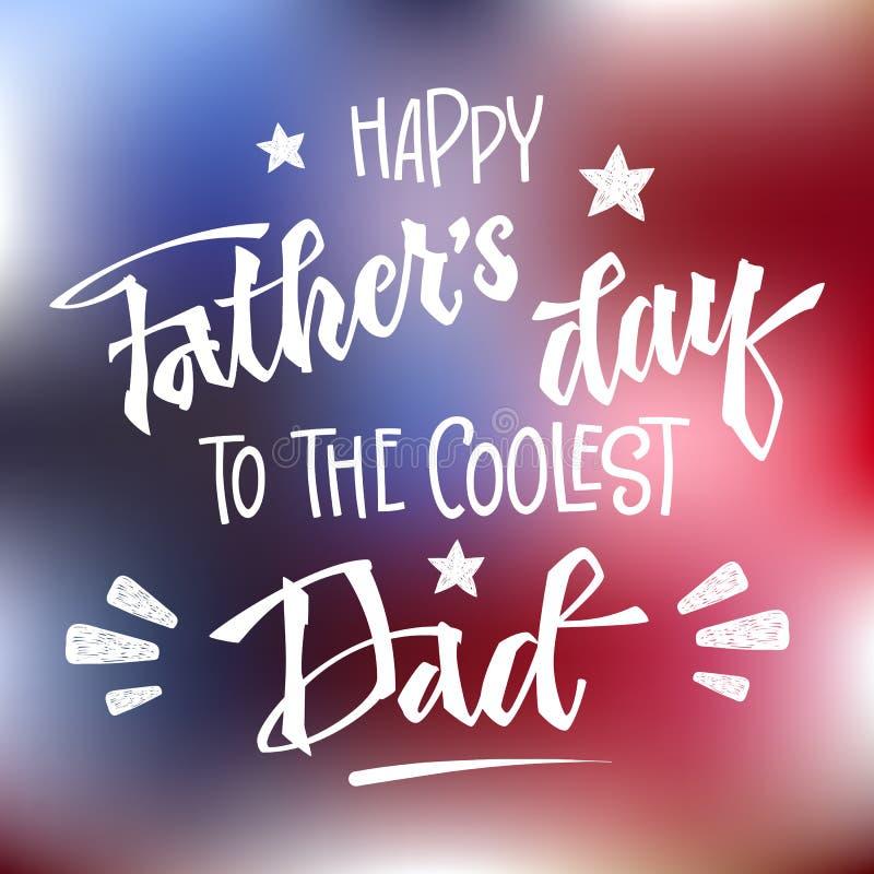 对最凉快的爸爸行情的愉快的父亲节 方形的设计 手拉的剧本窗框手字法 库存例证