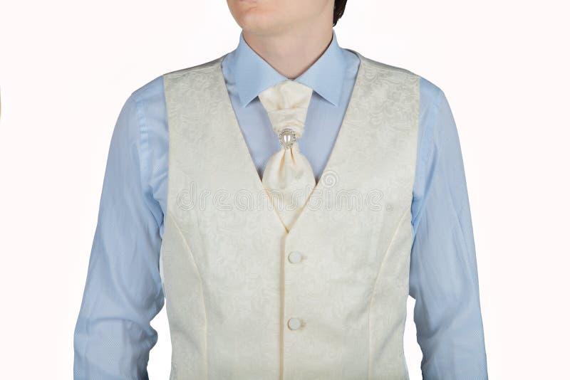 对有提花织物样式的人奶油白色背心 免版税库存照片
