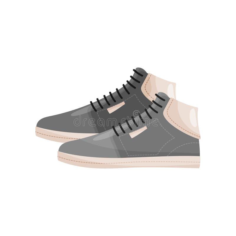 对有鞋带的时髦男性鞋子,侧视图 灰色运动鞋 人体育鞋类 平的传染媒介象 皇族释放例证