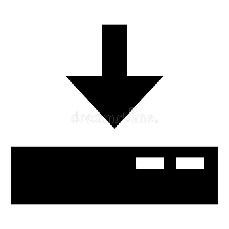 对服务器象黑色彩色插图平的样式简单的图象的下载 库存例证