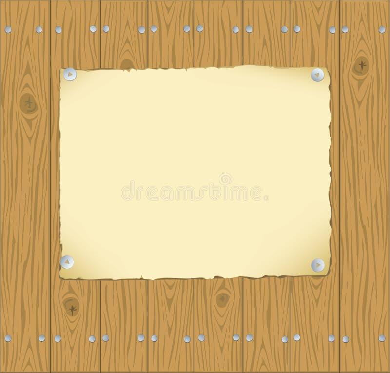 对木的框架纸张固定的板条 皇族释放例证