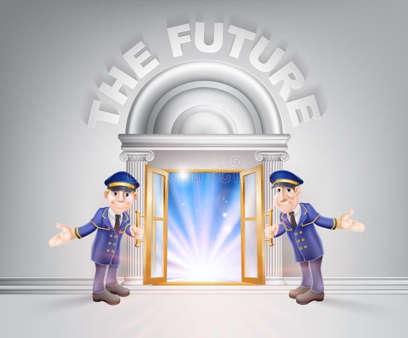 对未来和门房的门 向量例证