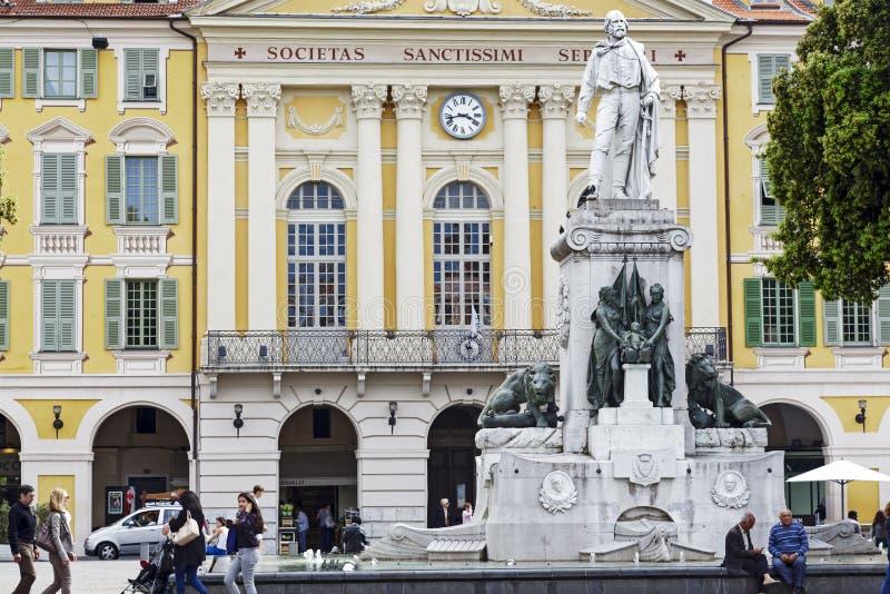 对朱塞佩・加里波底,尼斯,法国的纪念碑 免版税库存图片