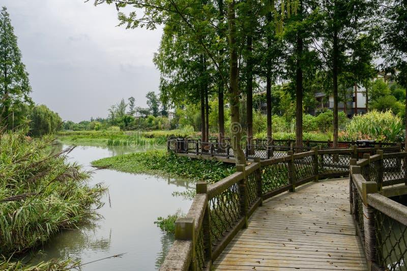 对村庄的湖边木人行桥在森林在晴朗的夏天d 库存图片