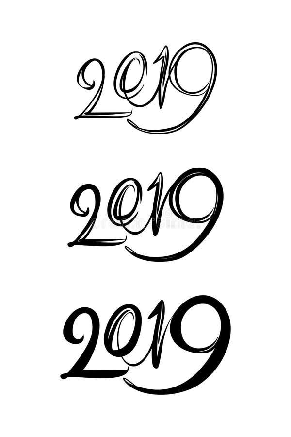 对来年的日历的三手写图2019年 皇族释放例证