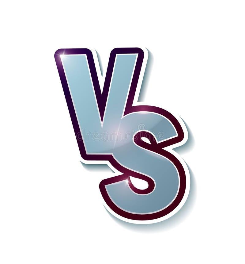 对标志喜欢反对 交锋的概念,一起,隔离,最后的战斗 背景查出的白色 对 Vecto 库存例证