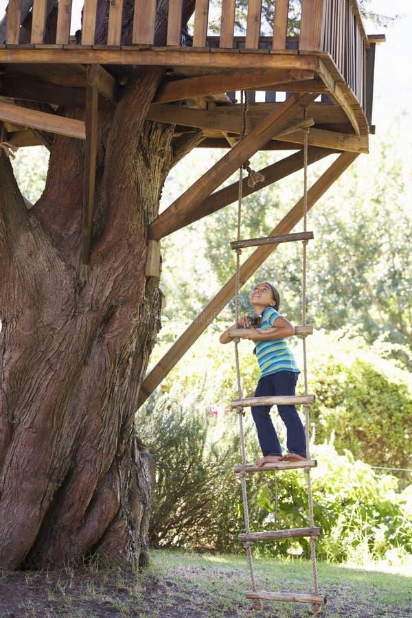 对树上小屋的女孩上升的绳梯 库存照片